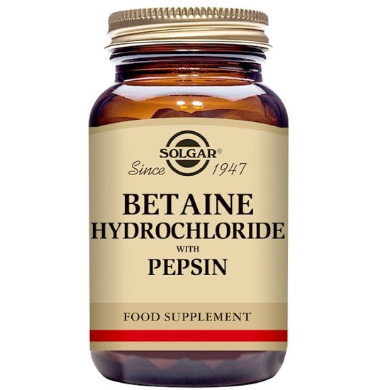 solgar beatine hydrochloride with pepsin 100 tablets