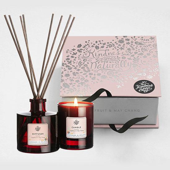 the handmade soap company gift set candle and diffuser set grapefruit and may chang
