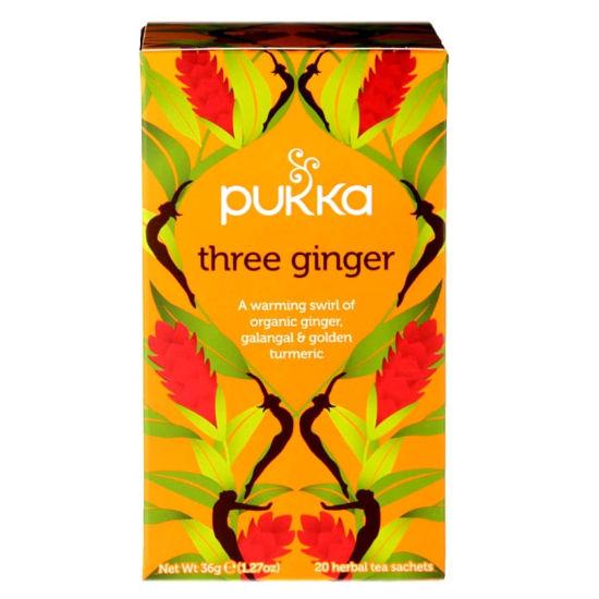 pukka three ginger 20 organic caffeine free herbal tea sachets 1