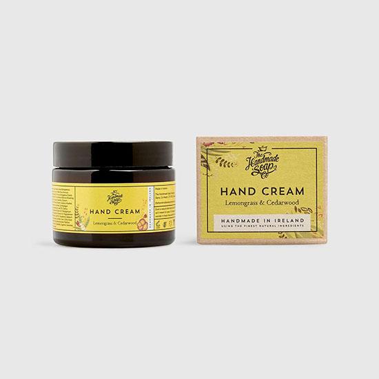 the handmade soap company hand cream lemongrass and cedarwood 50ml with box