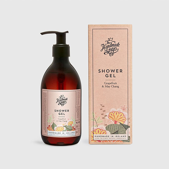 the handmade soap company shower gel grapefruit and may chang with box
