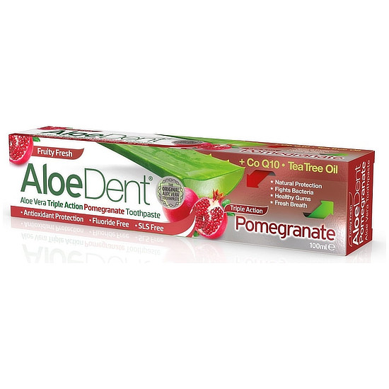 aloedent triple action pomegranate toothpaste fluoride free