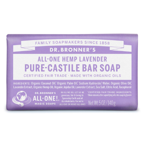 dr bronners pure castile bar soap lavender 140g